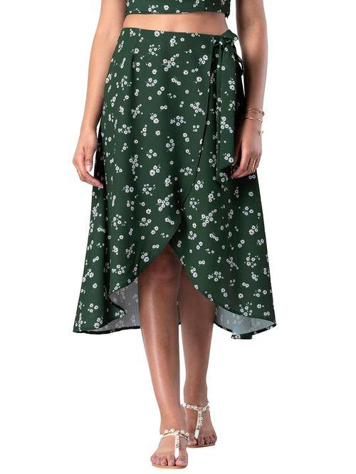 FabAlley Green Floral Print Skirt