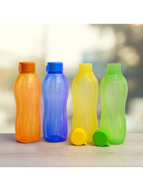 Tupperware Aquasafe Multicolor Plastic Water Bottles  1000 ml    Set of 4