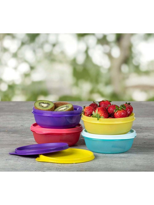 Tupperware Multicolor Plastic Containers with Lid  300 ml    Set of 4