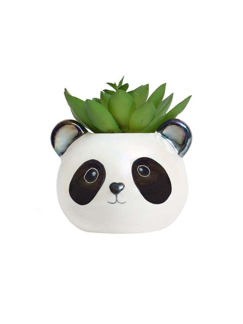 Chumbak White Ceramic Panda Face Planter   Set of 1