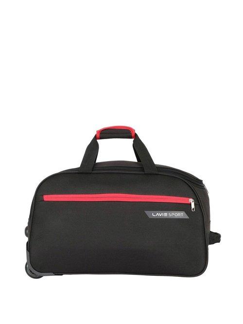 Lavie Sport Black Medium Duffle Trolley Bag