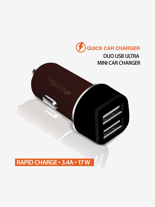 Powerup Stay Charged Car Charger Fast Charging Dual USB Ports 3.4Amp for Mobile  Brown