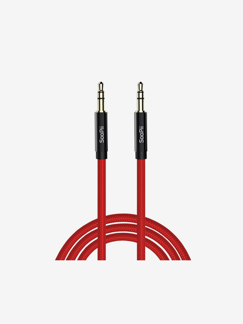 Soopii Aux Cable For Car, Music System, Phone And All Other Music Devices  Red