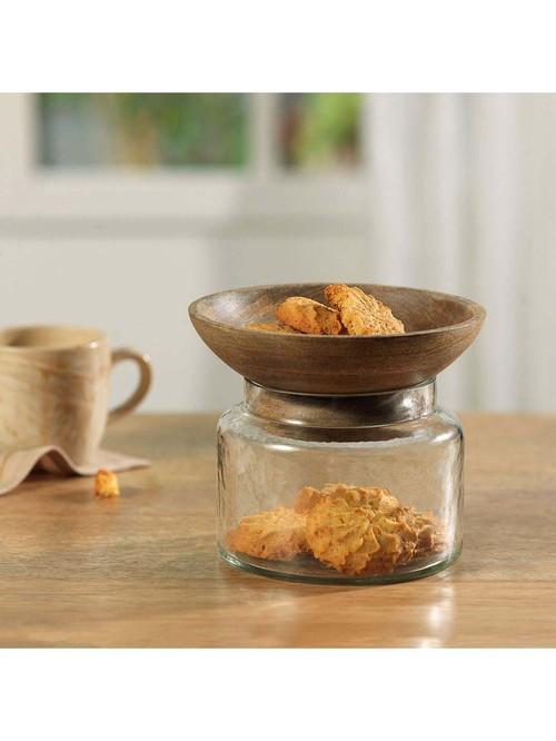 ellementry Twain Transparent Glass Jar with Bowl   Set of 1