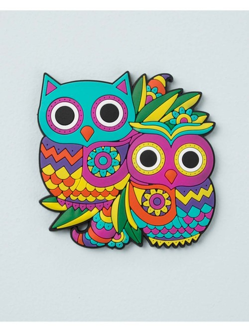 Chumbak Owl Multicolor Fridge Magnet   Set of 1