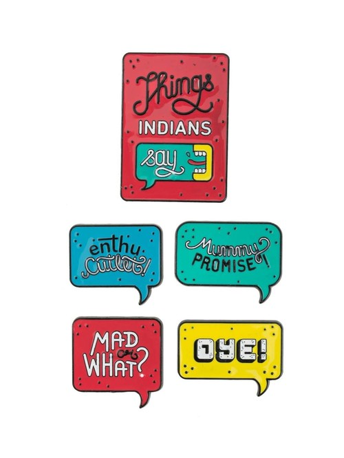 Chumbak Things Indian Say Multicolor Fridge Magnets   Set of 5