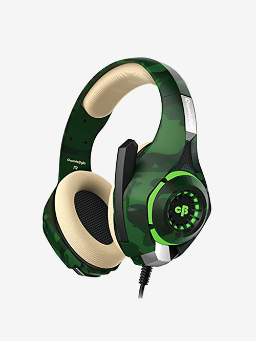 Cosmic Byte GS410 Wired Gaming Headphone with Mic  Camo Green