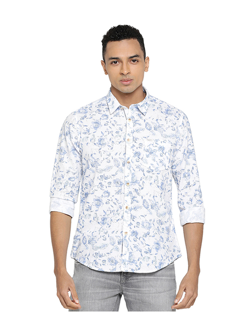 Buy Pepe Jeans Blue White Regular Fit Printed Shirt Online At Best Prices Tata Cliq
