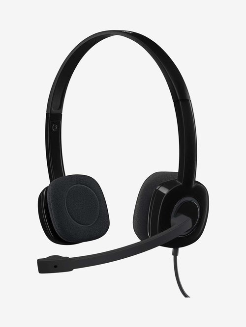 Logitech H151 Wired Headphone with Microphone  Black