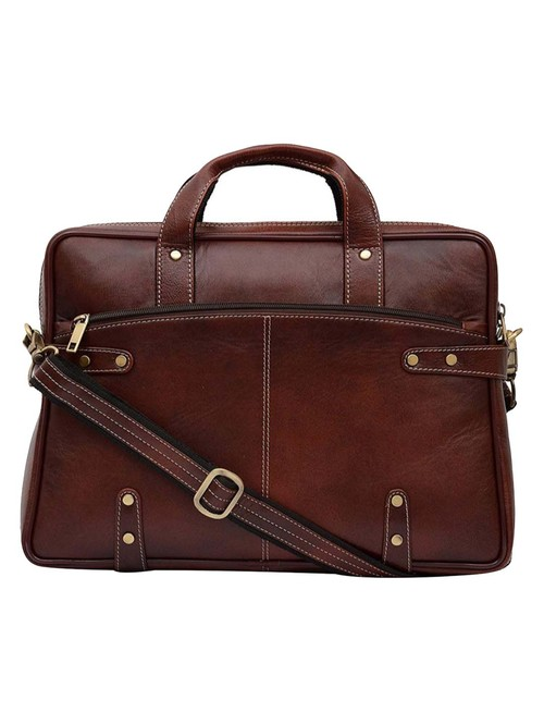 HiLEDER 100% Genuine Leather 15 inches Briefcase Laptop Shoulder Messenger Office Bag  Deep Brown