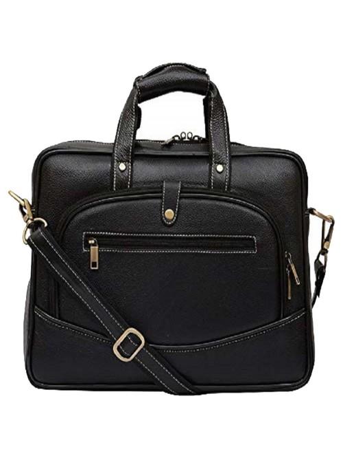 HiLEDER 100% Genuine Leather 15 In Briefcase Laptop Messenger Office Bag for Men Boys  Black