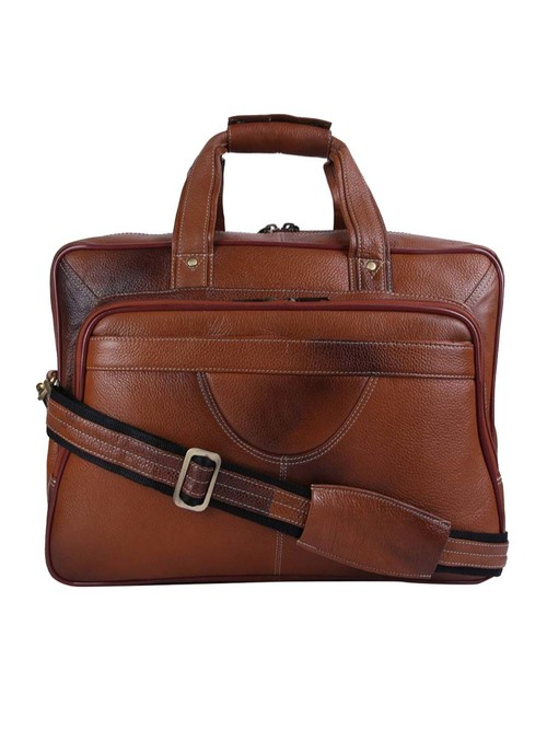 HiLEDER 100% Genuine Leather Stylish 16 In Briefcase Laptop Messenger Satchel Office Bag  Tan