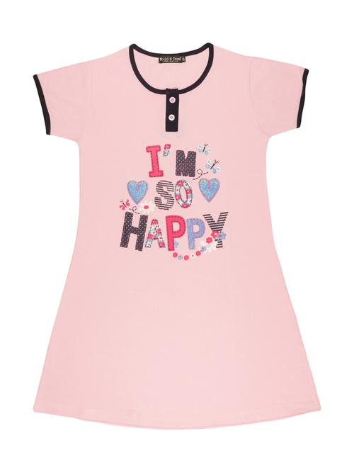 Todd N Teen Kids Pink Cotton Printed Nighty