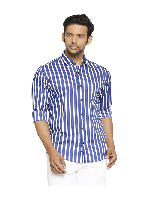 Mufti Royal Blue   White Slim Fit Shirt