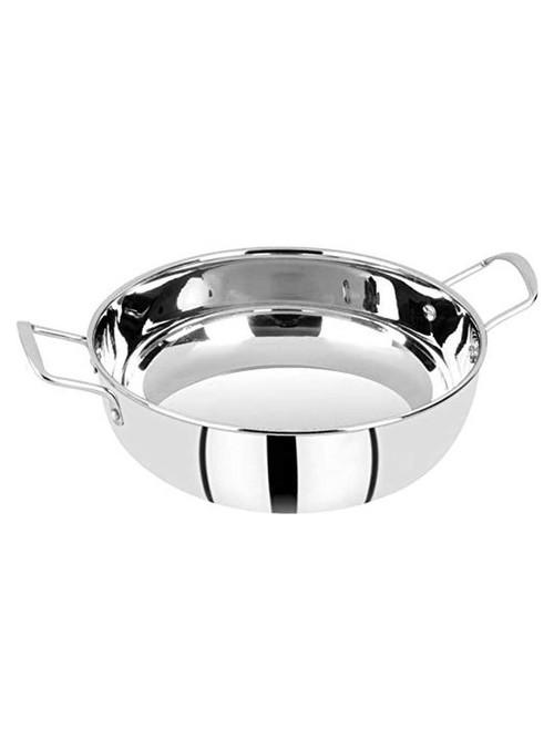 Bergner Essential Silver Stainless Steel 200 mm Kadai  2300 ml    Set of 1
