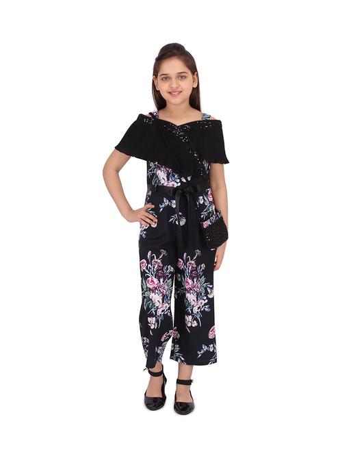 Cutecumber Kids Floral Print Black Jumpsuit