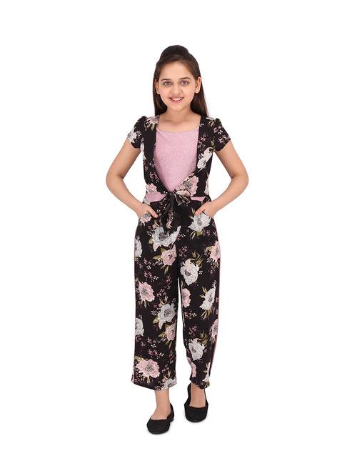 Cutecumber Kids Floral Print Black & Pink Jumpsuit