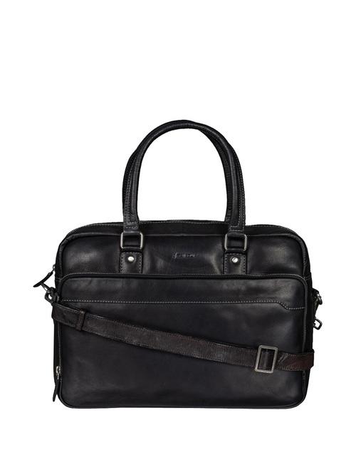 Mai Soli Bronco Black Leather Medium Laptop Messenger Bag