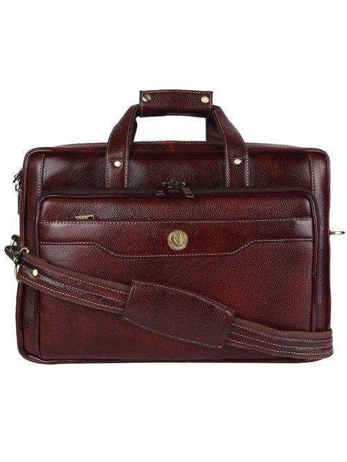 HiLEDER Pure Genuine Premium Stylish Briefcase Laptop Messenger Bag for Men and Women, Brown