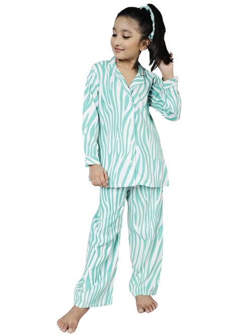 Aks Kids Turquoise Printed Shirt with Pants