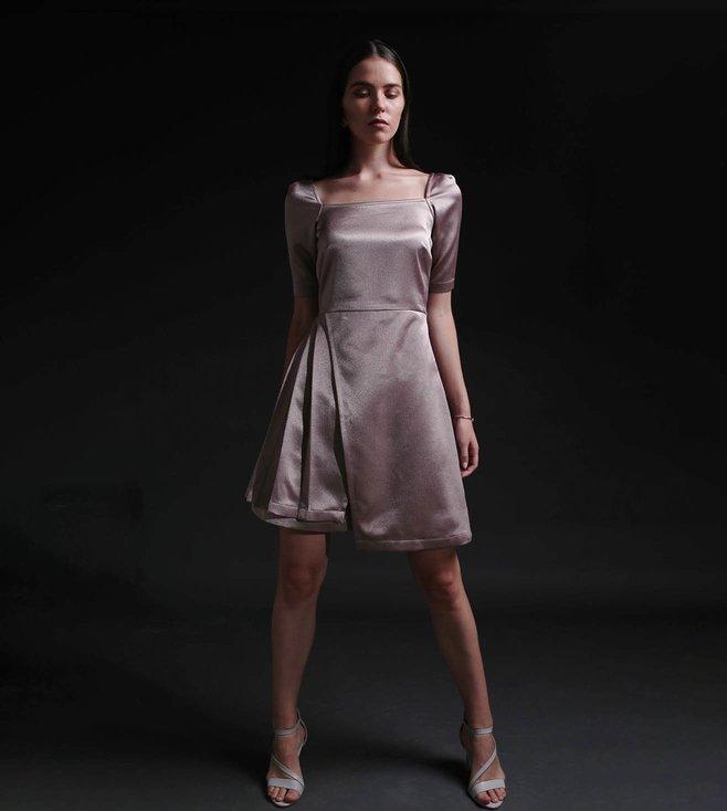 Buy Tara And I Rose Gold Polyester Rosa Side Pleat Dress Online Tata Cliq Luxury
