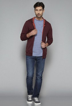 Westsport by Westside Maroon Textured Slim Fit Sweatshirt