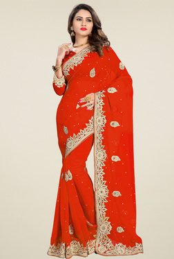 Shree Orange Embroidered Saree With Blouse