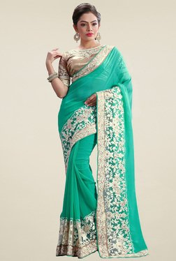Shree Green Embroidered Saree With Blouse