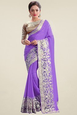 Shree Purple Embroidered Saree With Blouse