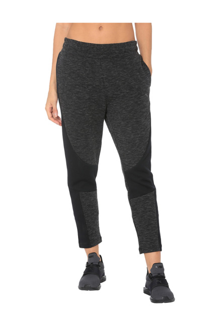 Puma Black & Grey Regular Fit Elasticated Pants