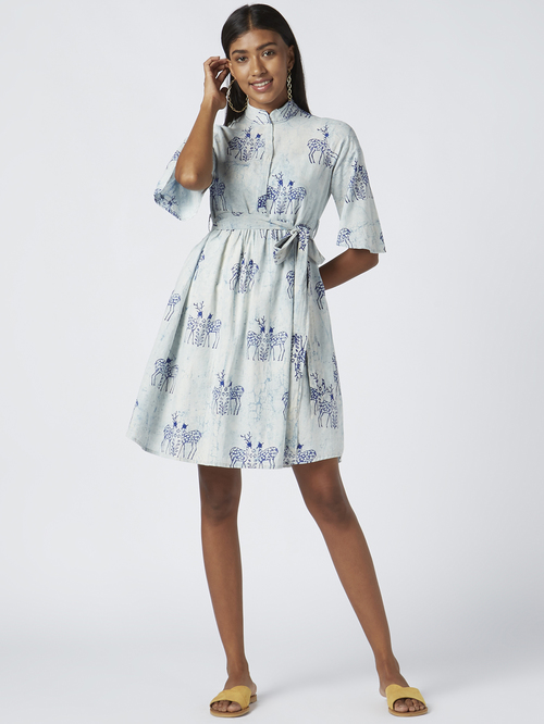 Okhai Moonlit Safari Sky Blue Pure Cotton Embellished A-Line Dress