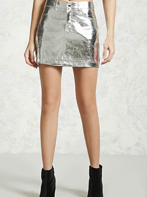 Forever 21 Silver A-Line Fit Skirt